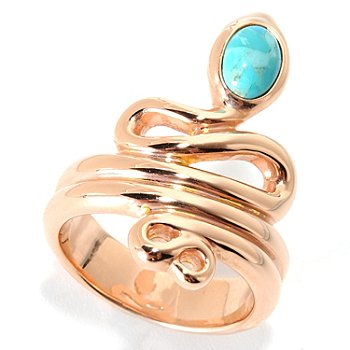 130-530 - Portofino Gold Embraced™ 7 x 5mm Turquoise Snake Ring