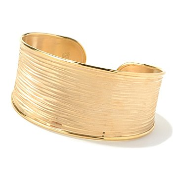 130-540 - Portofino Gold Embraced™ 7.25'' Textured Stripe Cuff Bracelet