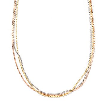 130-543 - Portofino Gold Embraced™ 20'' Three-Strand Fancy Box Link Necklace