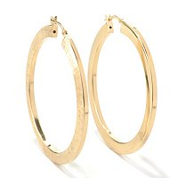 SS/18KGP EAR DOUBLE TEXTURE SQUARE-EDGE HOOP