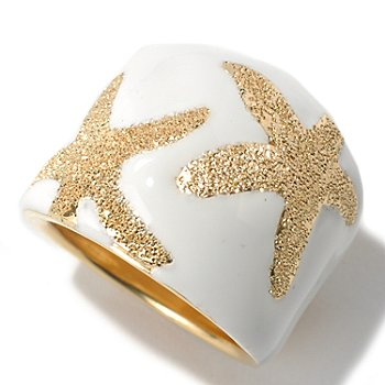 130-548 - Portofino Gold Embraced™ White Enamel Starfish Design Band Ring