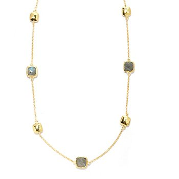 130-549 - Portofino Gold Embraced™ 28'' Labradorite & Polished Cube Station Necklace