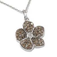 SS CHAMPAGNE DIAMOND FLOWER PEND W/WHITE DIA CENTER