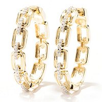 SS/YELLOW VERMEIL WHITE DIAMOND HOOP EARRINGS