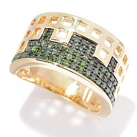 SS/ YELLOW VERMEIL GREEN DIAMOND WIDE BAND RING