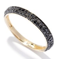 SS/ YELLOW VERMEIL BLACK DIAMOND BAND RING