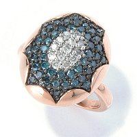SS/ROSE VERMEIL BLUE & WHITE DIAMOND OVAL RING