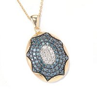 SS/YELLOW VERMEIL BLUE & WHITE DIAMOND PEND