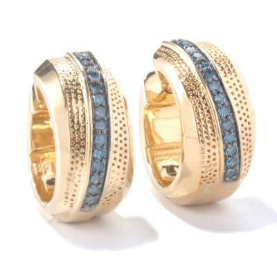 130-567 - Southport Diamonds Sterling Silver 14K Vermeil 0.33ctw Diamond Huggie Earrings