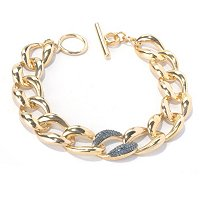 SS/YELLOW VERMEIL BRACELET W/ BLUE DIAMONDS