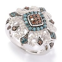 SS BLUE, RED & WHITE DIAMOND RING