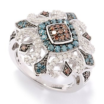130-571 - Diamond Treasures Sterling Silver 1.00ctw Red, Blue & White Diamond Square Ring