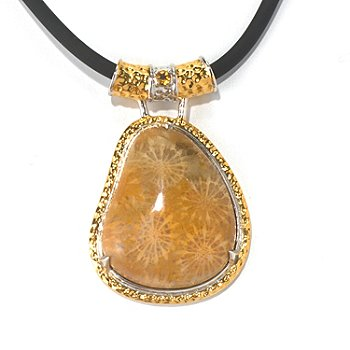 130-579 - Men's en Vogue II 30 x 25mm Fossilized Coral & Citrine Pendant w/ 22'' Rubber Cord