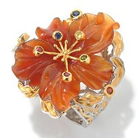 SS/PALL RING HAND-CARVED CARNELIAN FLOWER & MULTI GEM