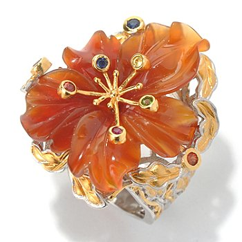130-582 - Gems en Vogue II Hand Carved Carnelian Flower & Multi Gemstone Polished Ring