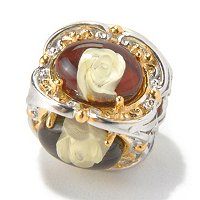 SS/PALL CHARM INTAGLTIO-CARVED AMBER 4-ROSE CUBE