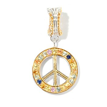 130-587 - Gems en Vogue II Multi Color Sapphire Peace Sign Drop Charm