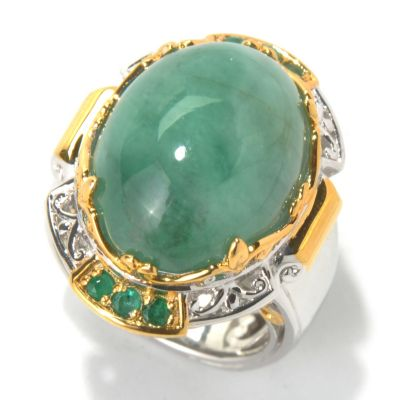 130-594 - Gems en Vogue II 20 x 15mm Opaque Emerald Cabochon Ring