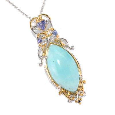 130-596 - Gems en Vogue II 34 x 18mm Hemimorphite & Multi Gemstone Pendant w/ Chain
