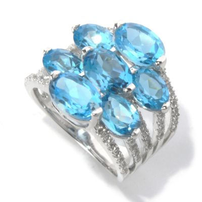 130-629 - Gem Insider Sterling Silver 8.30ctw Swiss Blue & White Topaz Split Ring