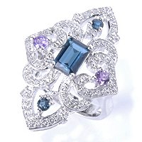 SS VINTAGE RING EM CUT LONDON BLUE TOPAZ AND AMY RING