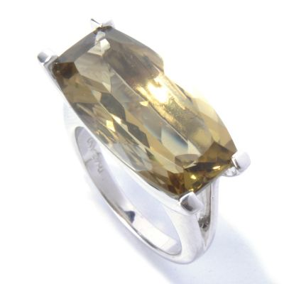 130-636 - Gem Insider Sterling Silver 8.30ctw Barrel Cut Olive Quartz East-West Ring