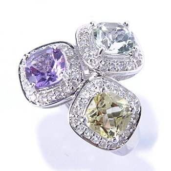130-637 - Gem Insider Sterling Silver 3.68ctw Multi Gem Three-Stone Halo Ring