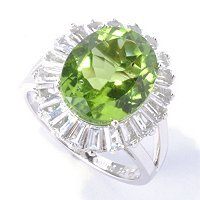 SS OVAL PERIDOT RING WITH WHITE TOPAZ
