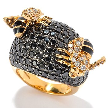 130-641 - Neda Behnam for Brilliante® Gold Embraced™ 9.69 DEW Black Bumble Bee Ring