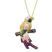 "NEDA SS/TRI COLOR MULTI COLOR PARROT PENDANT W/ 18"" CHAIN"