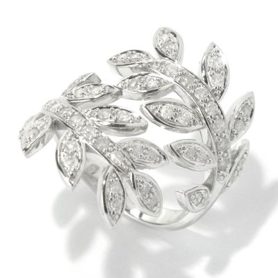 130-646 - Beverly Hills Elegance 14K White Gold 0.75ctw Diamond Leaf Bypass Ring