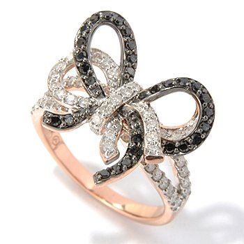 130-647 - Beverly Hills Elegance 14K Rose Gold 1.00ctw Black & White Diamond Bow Ring