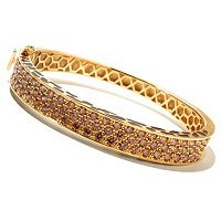 NEDA SS/CHOICE PAVE ANIMAL PRINT SIDE OVAL HINGED BANGLE BRACELET