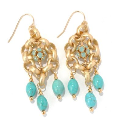 "130-674 - mariechavez 2.5"" Turquoise Dangle Earrings Made w/ Swarovski® Elements"