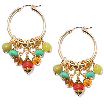 130-678 - mariechavez 2'' Multi Gemstone Cluster Hoop Earrings