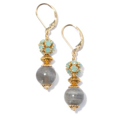 "130-680 - mariechavez 1.75"" Labradorite Drop Earrings Made w/ Swarovski® Elements"