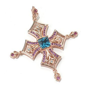 130-682 - Dallas Prince Designs 5.52ctw London Blue Topaz & Multi Gemstone Enhancer Pendant