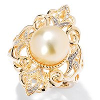 SS/YP 10-11mm GOLDEN SOUTH SEA & WHITE TOPAZ VINTAGE STYLE RING