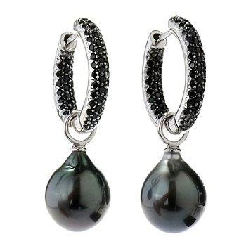 130-685 - Sterling Silver 11-12mm Tahitian Cultured Pearl & Spinel Inside-Out Hoop Earrings