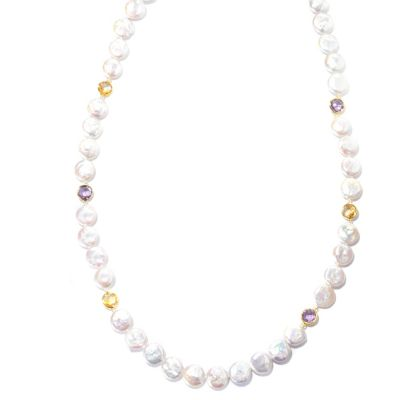 "130-687 - 30"" 12-13mm Coin White Freshwater Cultured Pearl & Faceted Gemstone Endless Necklace"
