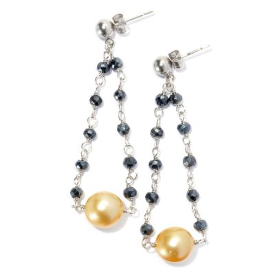 "130-688 - Sterling Silver 9-10mm South Sea Cultured Pearl & Black Spinel 2.25"" Dangle Earrings"