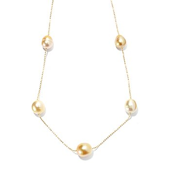 130-690 - 18'' 9-11mm Semi-Round Golden South Sea Cultured Pearl Station Necklace