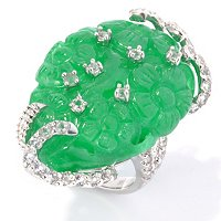 SS CARVED FLOWER GARDEN GREEN JADE & WHITE TOPAZ RING