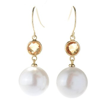 130-693 - 14-15mm White Button Freshwater Cultured Pearl & Faceted Gemstone Dangle Earrings