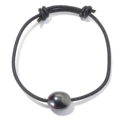 "130-694 - Unisex 8.5"" 11-12mm Tahitian Cultured Pearl Adjustable Leather Bracelet"
