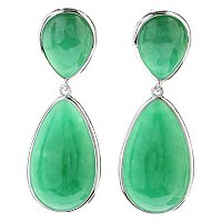 SS GREEN JADE DOUBLE PEAR DROP EARRINGS
