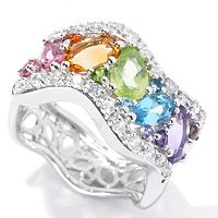 SS/PLAT RING MULTI GEMSTONE WAVE BAND