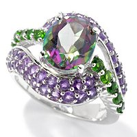 SS/P RING MYSTIC TOPAZ & MULTI GEMSTONE