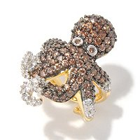 NEDA SS/PLAT CHOCOLATE OCTOPUS RING