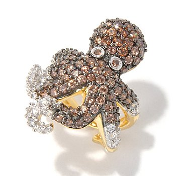 130-701 - Neda Behnam for Brilliante® Gold Embraced™ 2.99 DEW Mocha & White Octopus Ring
